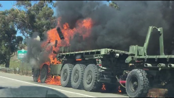 Military Truck Fire Slows Traffic on Interstate 5 in Oceanside