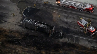 Truck Fire Spreads to Brush Off 5 Freeway