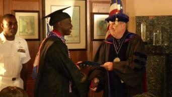 U.S. Sailor Delayed at Sea Gets Special Graduation