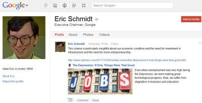 Eric Schmidt is Finally on Google+