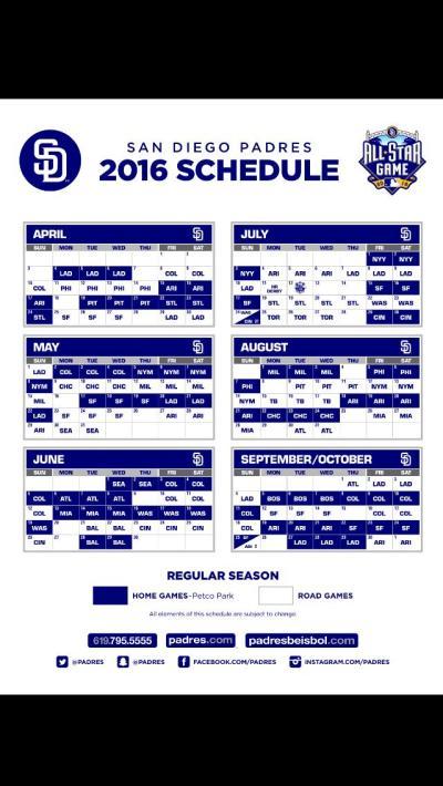 San Diego Padres Release 2016 Schedule | NBC 7 San Diego