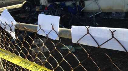 Students Leave Notes of Hope for Fire Victim's Family