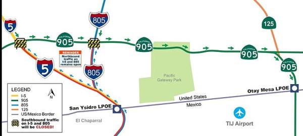 San Ysidro Border Crossing Closes This Weekend NBC San Diego - San diego us map close to mexico