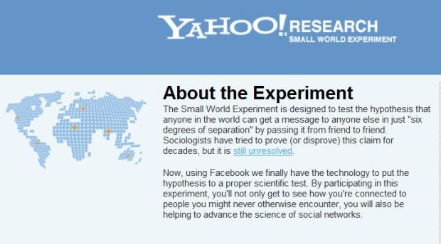 Facebook, Yahoo Partner for Six Degrees Experiment