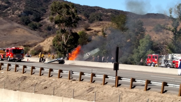 Vintage German World War II Plane Explodes in Flames on 101 Freeway