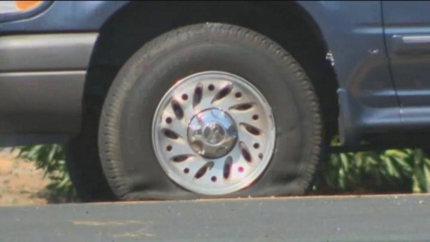 Stockton Bank Robbers' Getaway Vehicle Riddled with Bullets