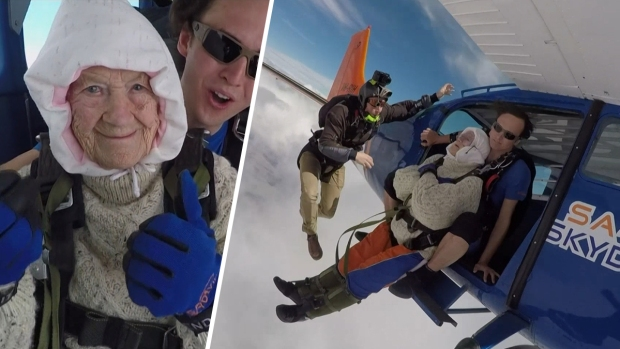 [NATL] 102-Year Old Woman Breaks Skydiving Record for Charity