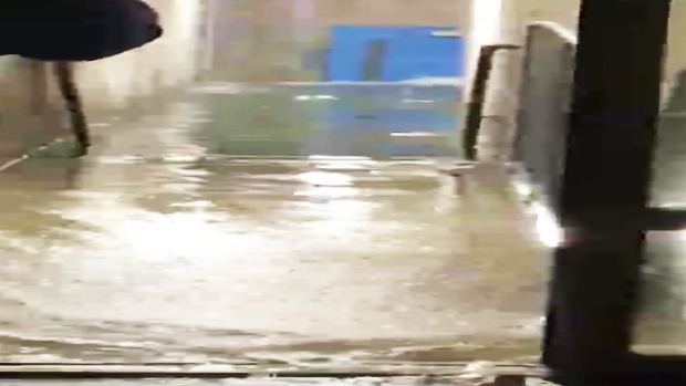 Entire Complex Flooded by Man With Fire Hose