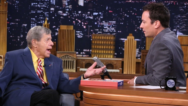 [NATL] Jerry Lewis, Jimmy Fallon Chat Using Instruments