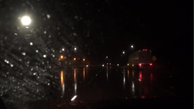 Rain Falls on I-15 NB Early Friday