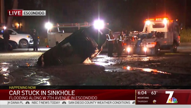 Car Pulled From Flooded Sinkhole in Escondido