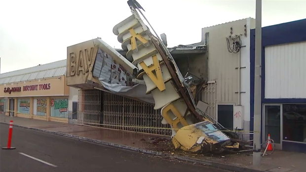 Storm Topples 'Bay' Theatre Sign in National City