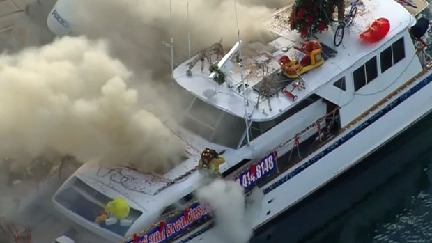 Fire Engulfs Boat on San Diego Bay