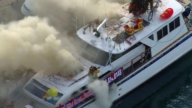 Fire Engulfs Boat on San Diego Bay