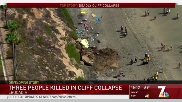 Three People Killed in Cliff Collapse in Leucadia
