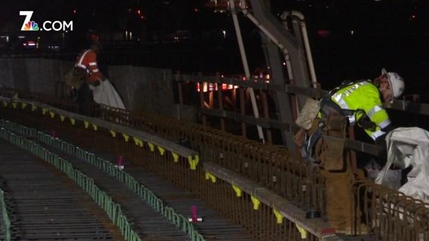 [DGO] Crews Pour Concrete for Trolley Bridge Over I-5