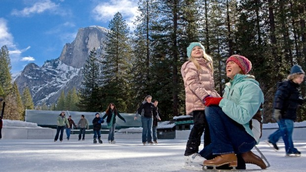 Skating at Yosemite's Famous Ice Rink
