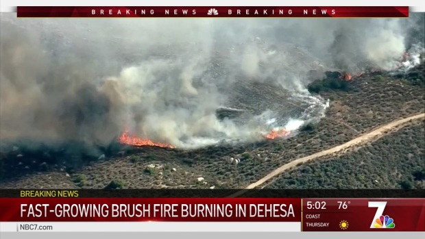 Dehesa Fire Forward Spread Stooped, Evacuations Still in Place: Cal Fire