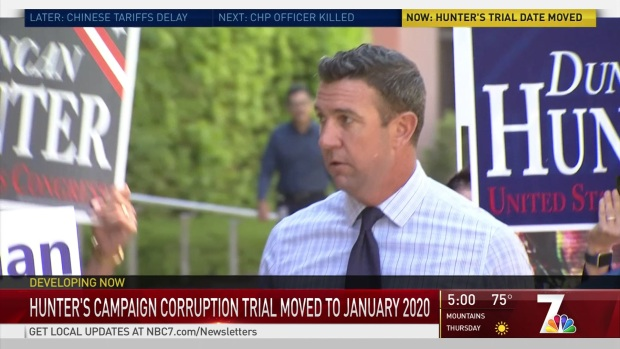 [DGO] Rep. Duncan Hunter Won't Be Tried on Corruption Until 2020