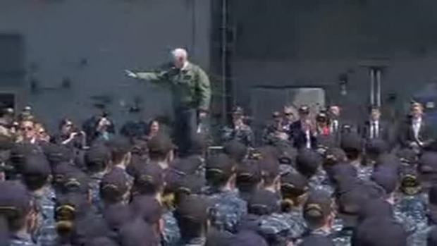 [NATL] 'We Will Defeat Any Attack': Pence to Crowd on USS Ronald Reagan