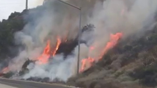 Lanes reopened after two small fires near 57 Freeway in Diamond