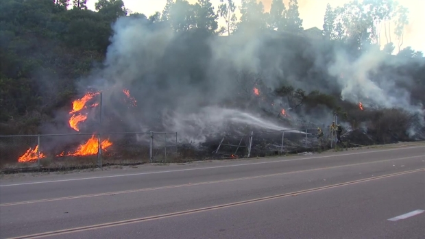 Brush Fire Caused by Hit-and-Run Driver in Clairemont