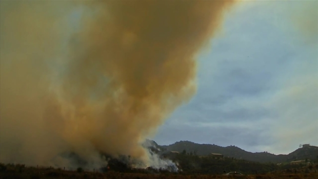 Smoke Fills Air Above Gopher Canyon Road