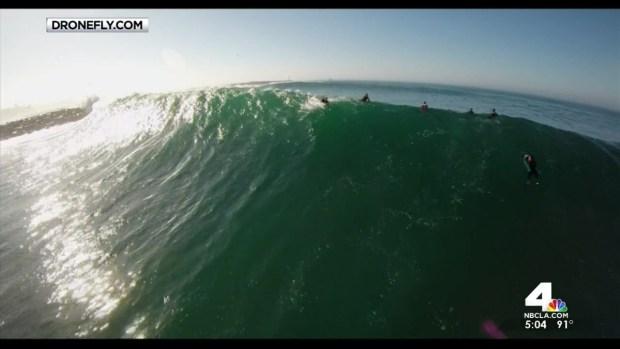 [LA] Surfers Tackle Big Waves Off Newport Coast