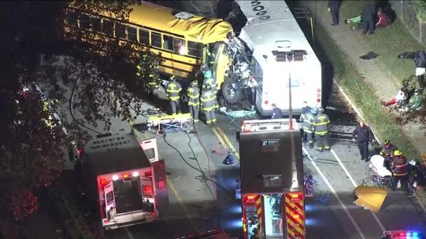 6 dead after school bus, MTA bus collide in Baltimore