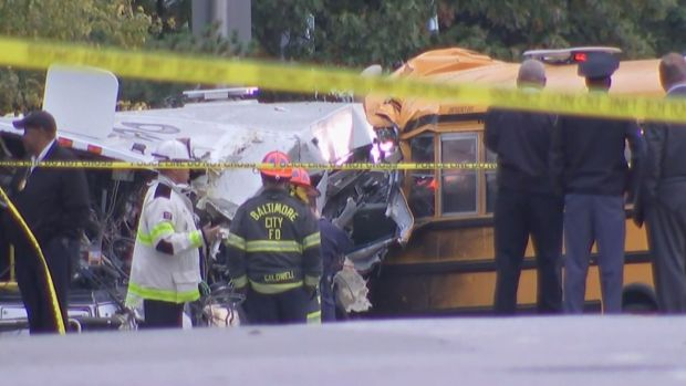 6 dead after buses collide in Baltimore