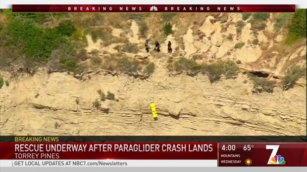 Paraglider Rescued After Crash on Cliffs Below Torrey Pines