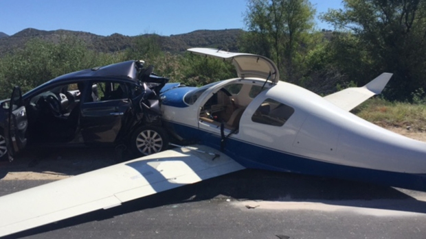 Images: Plane Crashes Into Car on Interstate 15 in San Diego