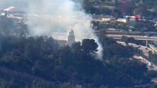 Fire Near San Diego's Presidio Park