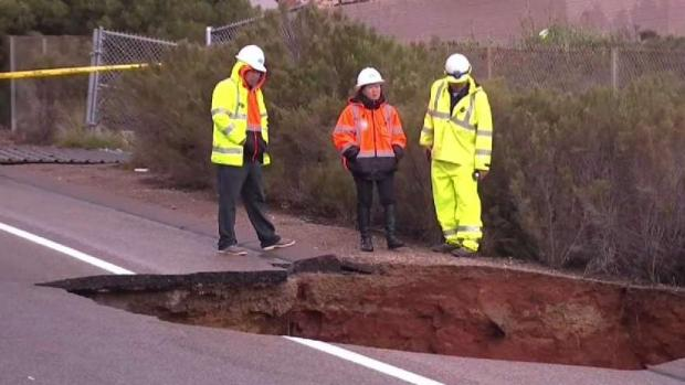 Rain Poses Problem for Crews at I-805 Sinkhole