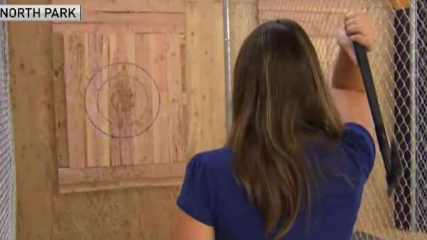 [DGO] Reporter Tries Axe Throwing Live on TV