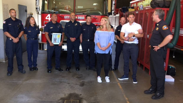 Baby Meets Firefighters Who Helped in Roadside Birth