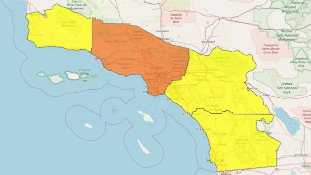 Santa Ana Fire Map.Red Flag Warning Goes Into Effect For Mountains Inland Valleys