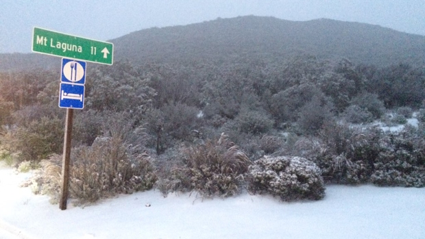 Snow Falls in San Diego Mountains