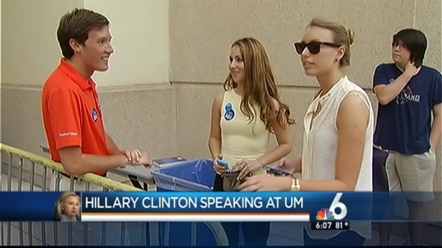 [MI] Some Students Line Up Early for Hillary Clinton's University of Miami Speech