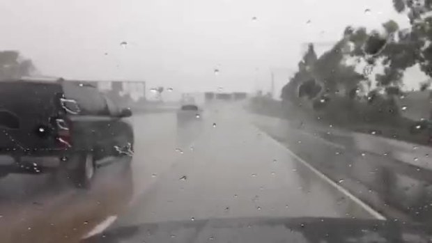 Rain Falling on I-5 in National City