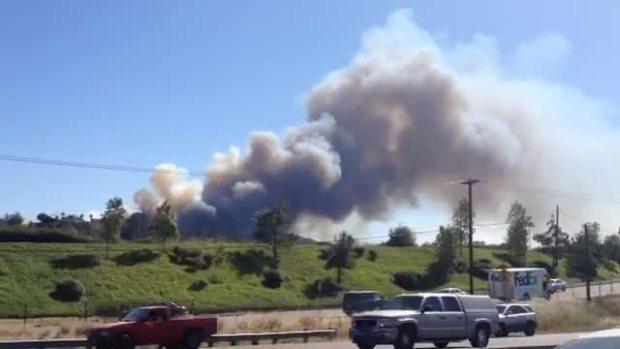 Watch: Fire Burns in San Marcos