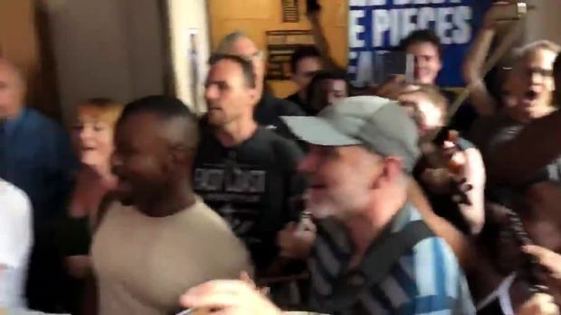 [NATL] 'Come From Away' Cast Performs Outside Theatre Amid NYC Blackout