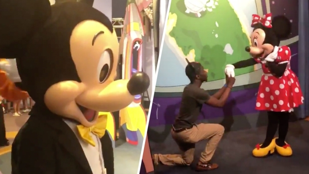 [NATL] Mickey Mouse Has the Best Reaction to This Man 'Proposing' to Minnie