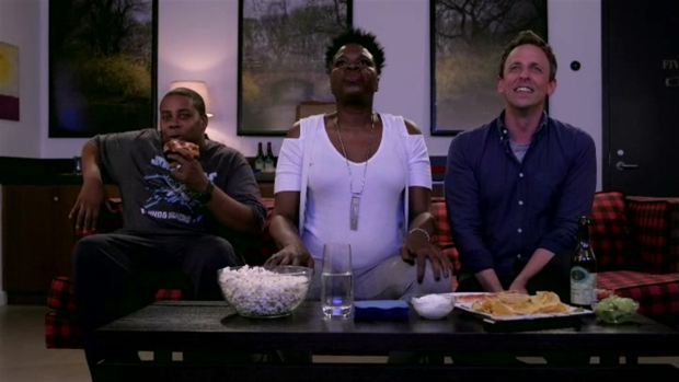 [NATL] 'Late Night': Seth Meyers and Leslie Jones Watch 'Game of Thrones'
