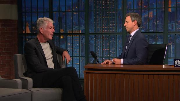 [NATL] 'Late Night': Anthony Bourdain Reveals Dicey 'Parts Unknown' Shoots