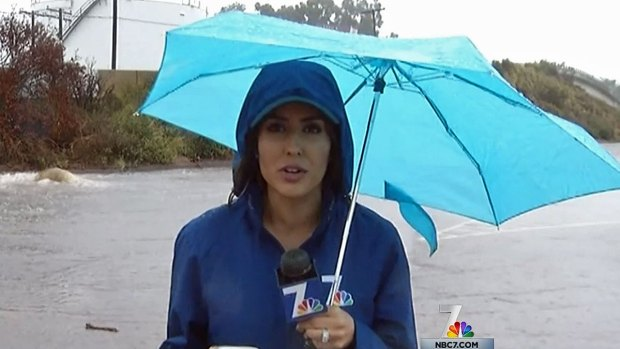 Rain Floods Roads, Parking Lots in Mission Valley