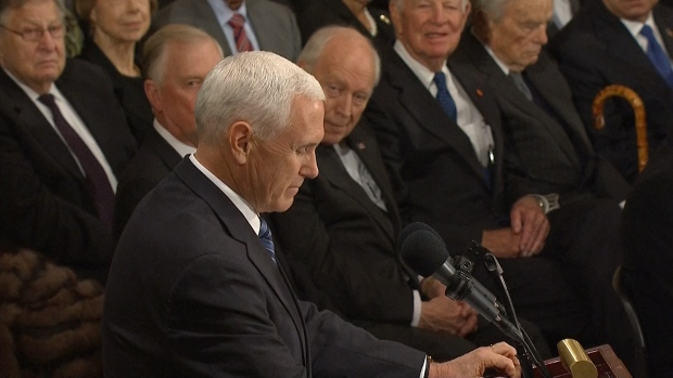 [NATL] Pence Eulogizes President George H.W. Bush in Capitol