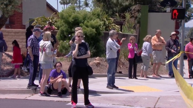 Outside the Poway Synagogue Shooting Scene