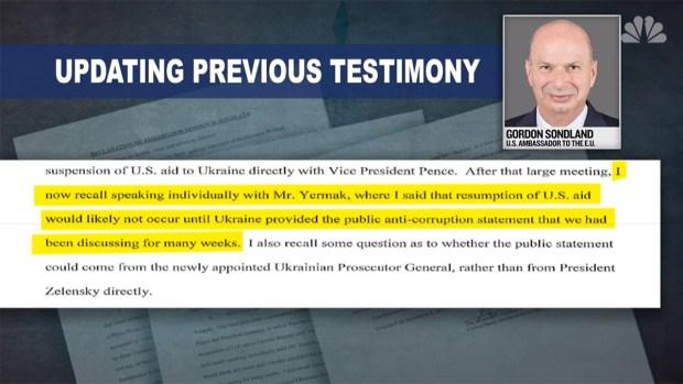 [NATL] Impeachment Inquiry: Sondland Testimony Confirms Quid Pro Quo