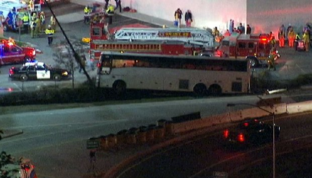 [LA] Tour Bus Crash in Baldwin Park Hurts Passengers